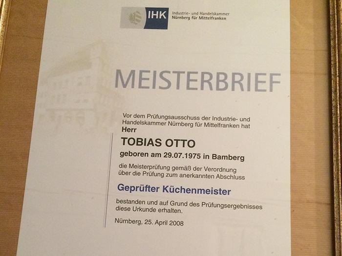 Tobias Otto, Küchenmeister
